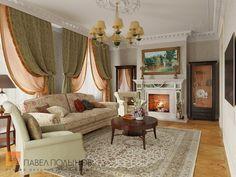 Фото: Гостиная - Интерьер загородного дома в стиле легкой классики, КП «Альпино», 430 кв.м.