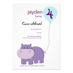 Hippo Birthday Invitation