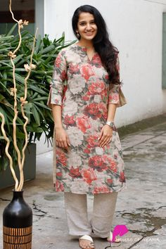 Secret Garden Kurti with Cigarette Pants - House of Ayana Salwar Designs, New Kurti Designs, Printed Kurti Designs, Simple Kurta Designs, Fancy Blouse Designs, Kurta Designs Women, Kurti Designs Party Wear, Salwar Kameez Neck Designs, Kurti Sleeves Design