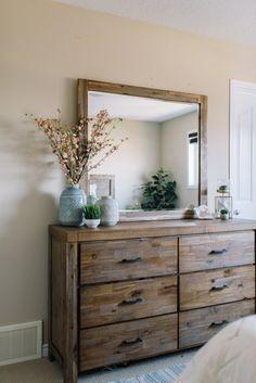 Rustic Bedroom - Acadia Dresser / Acadia Mirror / In-Store Accessories // The Brick Farmhouse Master Bedroom, Home Bedroom, Bedroom Rustic, Bedroom Ideas, Brick Bedroom, Rustic Bedroom Furniture, Rustic Room, Master Room, Western Furniture