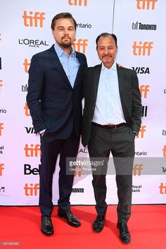 Producer Leonardo DiCaprio (L) and director Fisher Stevens attend the 'Before…