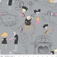 Riley Blake Zombie Apocalypse Doll and Dog Panel with Zombie Love Emily Taylor 9 Fat Quarter Kit •