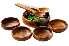 Lovely 7 piece Acacia Wood Salad Set, with salad bowl, serving utensils and 4 serving bowls. Wooden Food, Wooden Plates, Wooden Bowls, Serving Utensils, Serving Bowls, Sauce Tahini, Wooden Chopping Boards, Kitchenware, Tableware