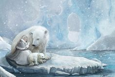 Polar Bears - abstract, bears, girl, fantasy, pole, iceberg