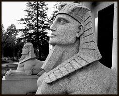 Sphinx sculptures on the Dodge Brothers Tomb in Woodlawn Cemetery in Detroit, MI
