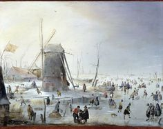 Hendrick Avercamp, Winter Landscape with Ice Skaters, early 17th c. Oil on copper, 20 x 26 cm. Private collection
