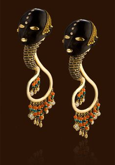 Earrings | Lydia Courteille.  Ebony wood, gold, white diamonds, coral and turquoise.