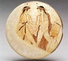 ~Zephyros and Hyakinthos/White-ground bobbin. Culture: Attic Artist: By the Penthesilea Painter. 460 B. Provenance: Metropolitan Museum of Art Greek Pottery, Painted Vases, Picture Story, Italian Painters, Greek Art, Prehistory, Gay Art, Ancient Artifacts, Pottery Painting