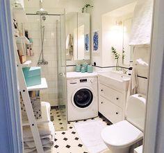 badrum. Very Small Bathroom, Small Bathroom With Shower, Small Showers, Bathroom Ideas, Scandinavian Home, Interior Inspiration, Washing Machine, Home Appliances, Bath Room