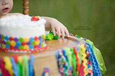 Very Hungry Caterpillar smash cake and high chair decorations! #smashcake #projectnursery