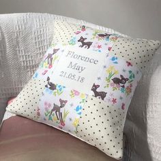 Baby Deer Name & Date Cushion Little Girl Gifts, Little Girls, Bed Pillows, Cushions, Baby Deer, Personalized Gifts, Pillow Cases, Pillows, Throw Pillows