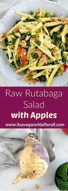 Raw Rutabaga Salad with Apples - a unique vegetable dish with rutabaga, fresh apples, and a honey vinaigrette! Raw Vegetable Salad, Healthy Vegetable Recipes, Vegetable Side Dishes, Raw Food Recipes, Vegetarian Recipes, Healthy Food, Vegan Food, Salad Recipes, Root Veggies