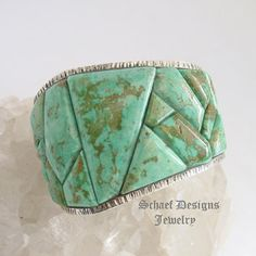 Ken Kirkbride large Bad Boys Cripple Creek Turquoise & sterling silver Cobblestone inlaid Cuff Bracelet | protoge of Charles Loloma  | Schaef Designs  | New Mexico