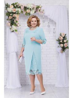 361-св.голубой, Ninele Mother Of Groom Dresses, Mothers Dresses, Elegant Dresses, Beautiful Dresses, Simple Cocktail Dress, Wedding Outfits For Women, Lace Dress Styles, Curvy Outfits, Classy Dress