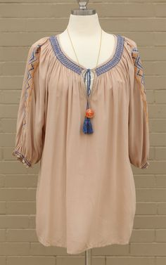 Curve~Taupe & Blue Curve- Embroidered Tassel Tie Top - So cute! This top has an embroidered tribal print with blue tassel ties! Dress and Dwell - Good things for you and your home