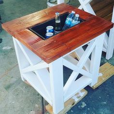 Small table with built in cooler, rustic x end table #mejias_dopecreations