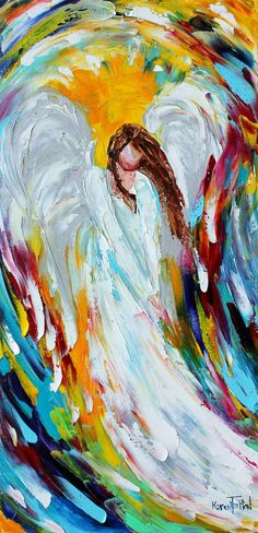 I love this. I am going to start painting and this is what I want to paint first. Angel painting by Karen Tarlton.
