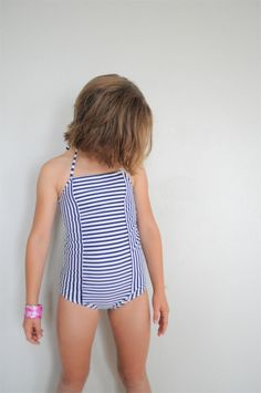 stripey swim suit on