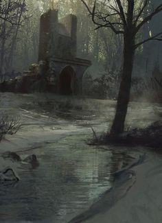 Fantasy Art Watch — Frozen Swamp by Sean Yang High Fantasy, Dark Fantasy Art, Medieval Fantasy, Fantasy World, Fantasy Art Landscapes, Fantasy Landscape, Landscape Art, Watercolor Landscape, Landscape Paintings