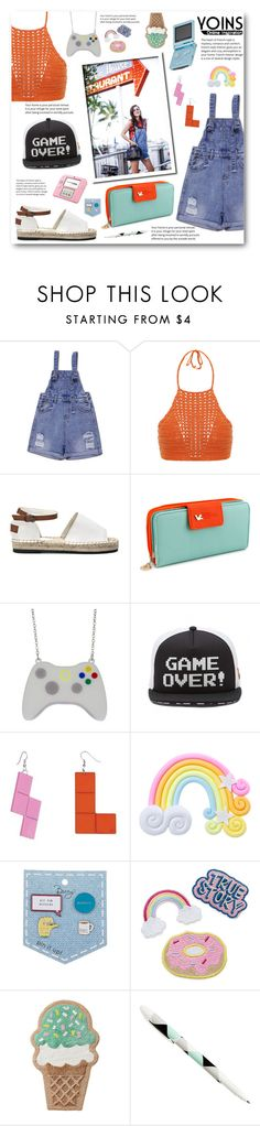 """""""Gamer Girl"""" by pankh ❤ liked on Polyvore featuring Spiritual Hippie, Nintendo, Tatty Devine, Rad+Refined and yoins"""