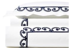 for Melody, Garland ChainStitch Duvet Set, Navy Embroidered Bedding, Linen Bedding, Bed Linens, Duvet Sets, Chain Stitch, One Kings Lane, Valance Curtains, Navy And White, Garland