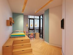 Children's Rooms in Two-Story Apartment, St. Petersburg, Russia