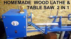 Homemade wood lathe & table saw 2 in 1 / tokarka do drewna & piła stołow...