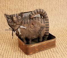 Примитивный Кот любитель подарок народного искусства тряпичная кукла примитивный декор Хэллоуин Cat коллекционная.