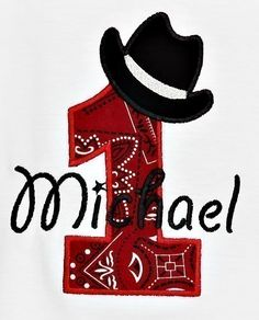 Cowboy Hat Birthday Numbers Font Applique Machine