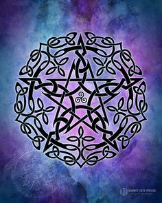 Blue Myst Celtic Pentacle -  Pagan Wiccan Print - Brigid Ashwood. $15.00, via Etsy.