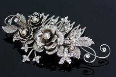 Bridal Hair Comb Silver Rose headpiece Flower Comb Swarovski Pearl and Crystal Rhinestone Vintage Wedding Hair Accessories FAYE