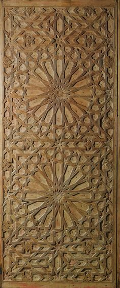 CARVED WOOD DOOR PANEL, LATE CENTURY, decorated with an intricate geometric pattern composed of two large sixteen-pointed stars, interstices filled with smaller stars and polygons. Design Oriental, Plafond Design, Arabic Pattern, Islamic Patterns, Moroccan Design, Moroccan Pattern, Arabesque, Panel Doors, Geometric Art