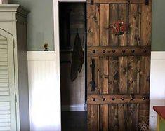 Interior Double Barn Doors - Horizon Style- Sliding Barn Door Package with Barn Hardware The Doors, Entry Doors, Front Doors, Panel Doors, Front Entry, Barn Door In House, Diy Barn Door, Sliding Barn Door Hardware, Sliding Doors
