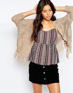 Vero+Moda+Open+Knit+Cardigan+With+Tassel+Detail