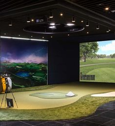 TrackMan Golf Simulator - Play, Practice and Teach 365 Days a Year - Used by the Best Tour Players and Top Coaches. Home Golf Simulator, Indoor Golf Simulator, Golf Man Cave, Golf Room, Golf Simulators, Gym Design, Golf Courses, Fitness Centers, Architecture
