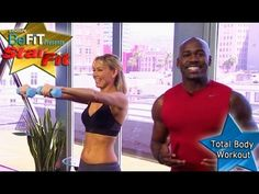 Total Body Workout: Dolvett Quince- Star Fit video:  Knee Walks with bicep curls, swim man, bent over row
