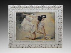 French Art Deco Oil on Canvas Ballerina by Cesar VILOT 1925 - http://www.artdecoceramicglasslight.com/makers/vilot-cesar/ref-05905---french-art-deco-oil-on-canvas-ballerina-by-cesar-vilot-1925