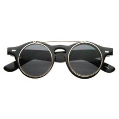 BLACK RETRO CIRCLE FLIP UP SUNGLASSES. - NEW