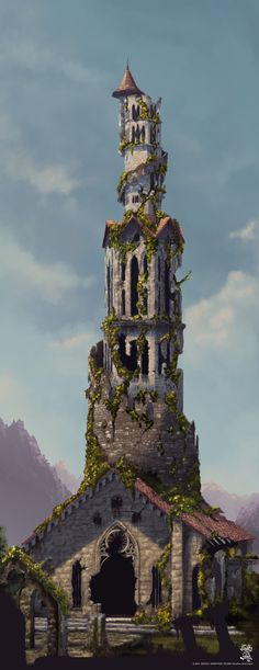I like this architectural piece because of how it looks run-down but still looks beautiful as nature (plants, vines, etc.) blends in with it. Fantasy City, Fantasy Castle, Fantasy House, Fantasy Places, High Fantasy, Medieval Fantasy, Fantasy World, Fantasy Concept Art, Fantasy Artwork