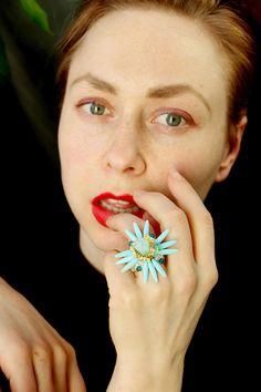 Original tropical gemstone ring, nature inspired botanic colored ring, jungle jewelry, opal quartz ring, light blue flower ring, kawaii ring