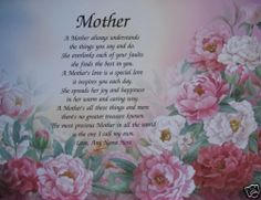 mothers day poems | MOTHER POEM PRETTY GIFTS FOR MOM BIRTHDAY, CHRISTMAS, MOTHERS DAY