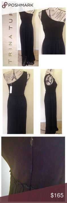 """Trina Turk Silk one Shoulder Dress NWT.  One shoulder Dress.  Bottom part is sheer with lining.  Silk dress. Zipper on side.  Dress measures:  Bust: 31"""" +plus stretch waist: 28"""" plus some stretch  Total Length: 57 1/2"""" from shoulder top.  ❌ (The Model in pics is 34"""" bust, 27"""" waist, 37"""" hips)❌ Trina Turk Dresses One Shoulder"""