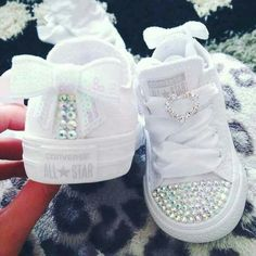 Blinged Out All White Converse All Star!