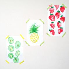 Michaella's Kitchen Watercolor Illustrations - Kiwi Strawberries Pineapple Fruit