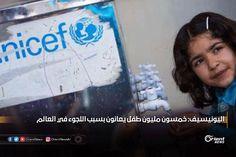"""أعلنت منظمة الأمم المتحدة للطفولة (اليونيسيف) عن وجود خمسين مليون طفل حول العالم يعانون النزوح أو اللجوء جراء الأزمات والحروب التي تدور في بقع عديدة من العالم وعلى رأسها #سوريا . ويأتي إعلان يونيسيف من خلال تقرير حثت المنظمة فيه على النظر إلى اللاجئين والمهاجرين القصر كأطفال """"أولا وقبل كل شيء"""" عرضة للعنف والاستغلال محذرة من أن الأطفال الذين يعيشون لاجئين يواجهون أيضا زيادة كراهية الأجانب وهم أكثر عرضة للخروج من المدرسة خمس مرات من أقرانهم من غير اللاجئين. #أورينت #اللاجئين_السوريين"""