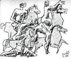 Rider pencil sketch by Le Corbusier