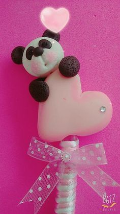 San Valentín Clay Projects, Clay Crafts, Panda Cakes, Polymer Clay Animals, Fondant Tutorial, Pasta Flexible, Cold Porcelain, Margarita, Crafts For Kids
