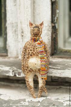 Купить Ватная игрушка на ёлку Леопард - Новый Год, ёлочные игрушки, новогодние украшения, леопард