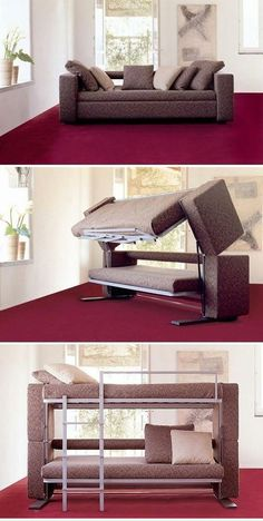 A convertible bunk bed and couch. Innovation saves space, again! :D