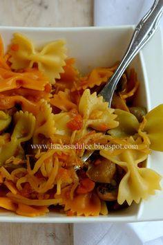 La cossa dulce: Lacitos de pasta con salsa de soja y verduras